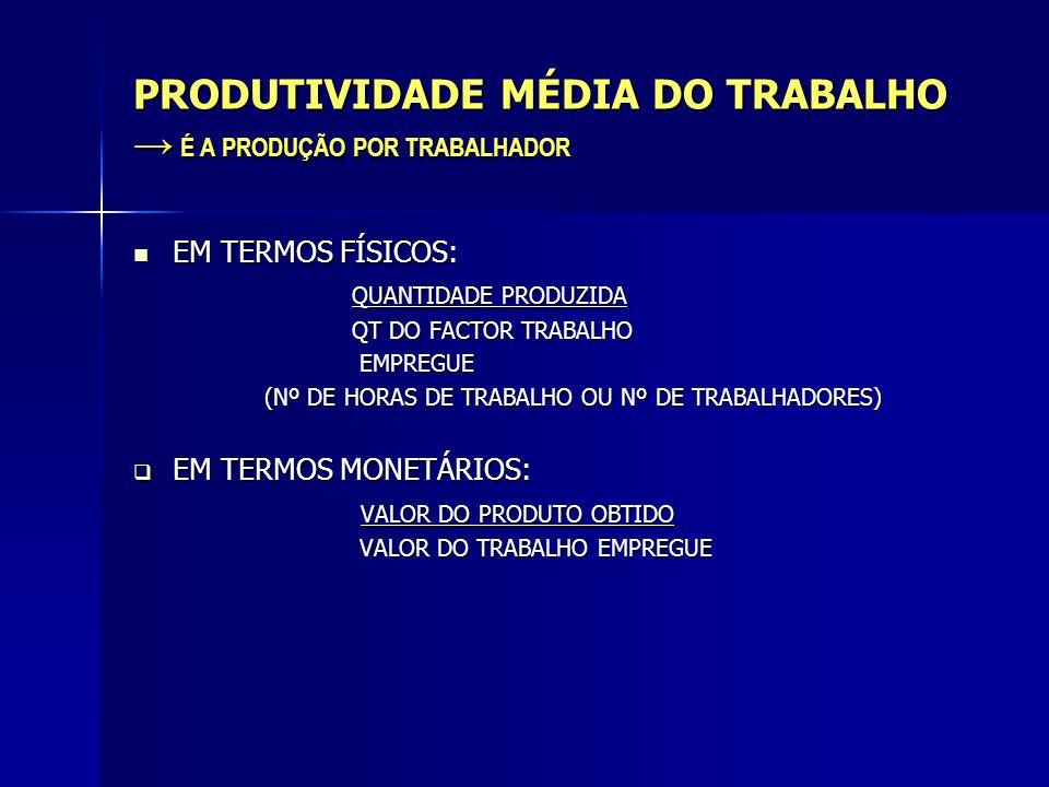 PRODUTIVIDADE MÉDIA DO TRABALHO → É A PRODUÇÃO POR TRABALHADOR