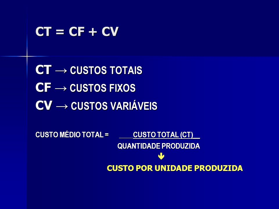 CT = CF + CV CT → CUSTOS TOTAIS CF → CUSTOS FIXOS