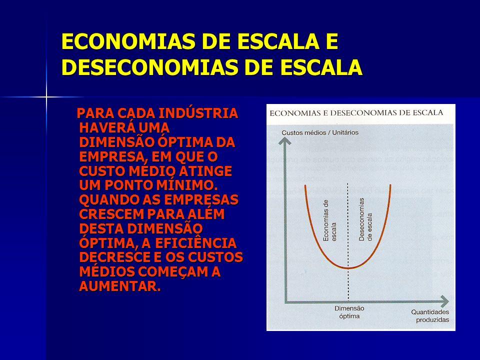 ECONOMIAS DE ESCALA E DESECONOMIAS DE ESCALA