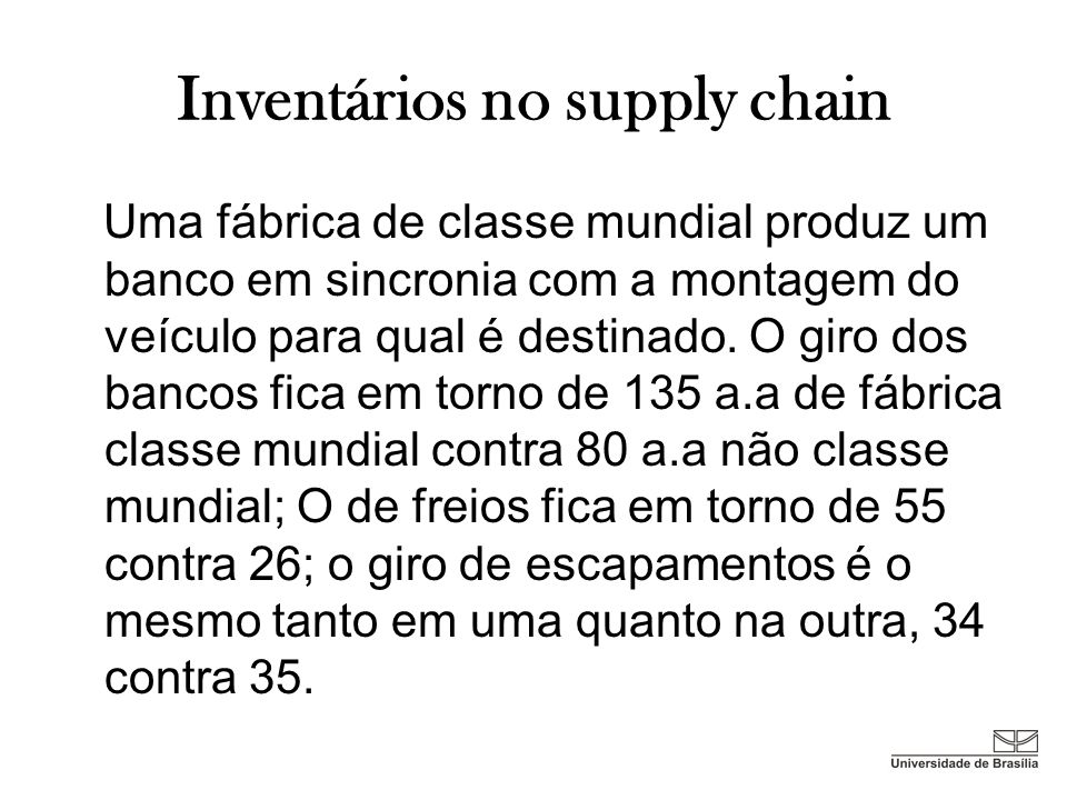 Inventários no supply chain