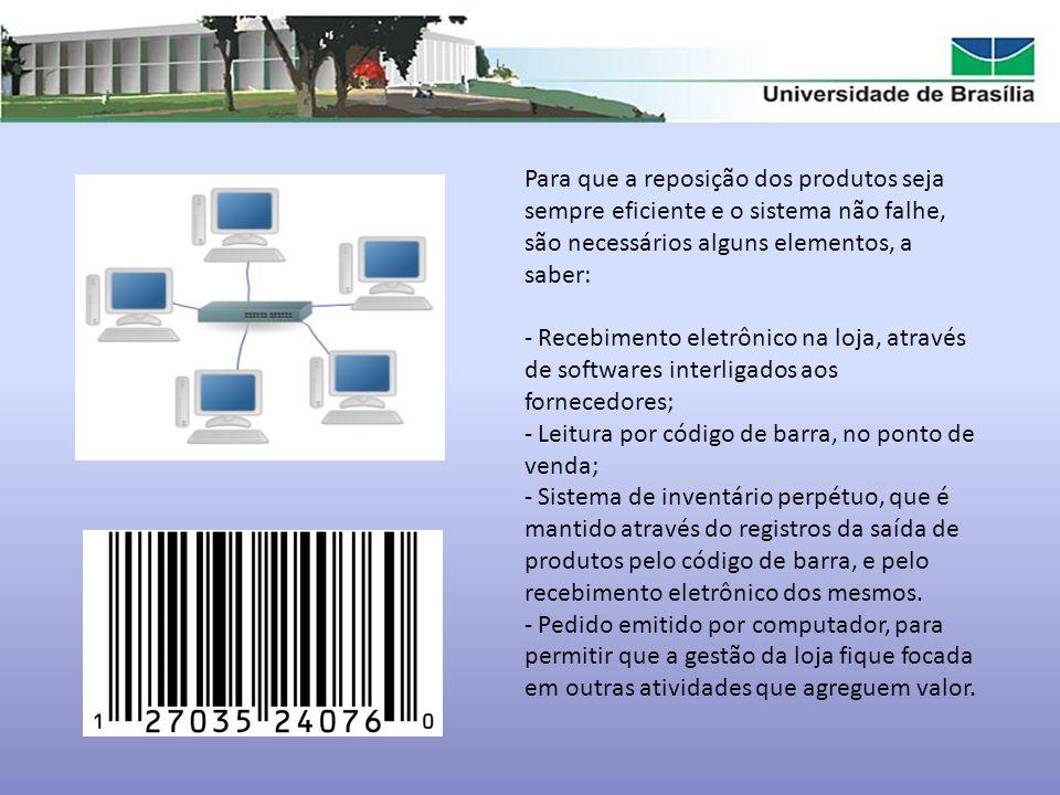 Para que a reposição dos produtos seja sempre eficiente e o sistema não falhe, são necessários alguns elementos, a saber:
