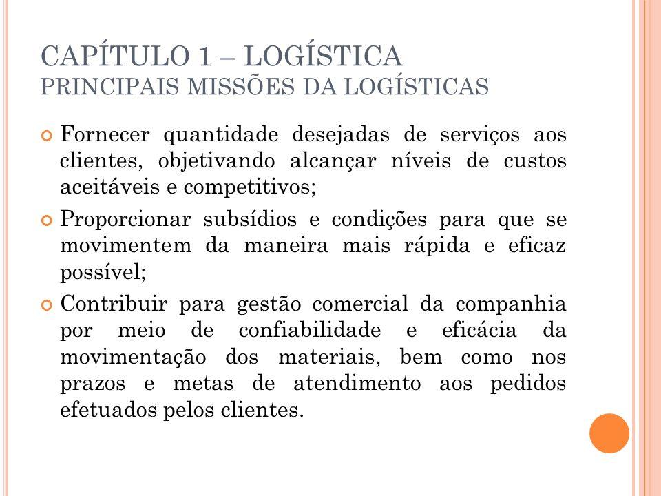 CAPÍTULO 1 – LOGÍSTICA PRINCIPAIS MISSÕES DA LOGÍSTICAS