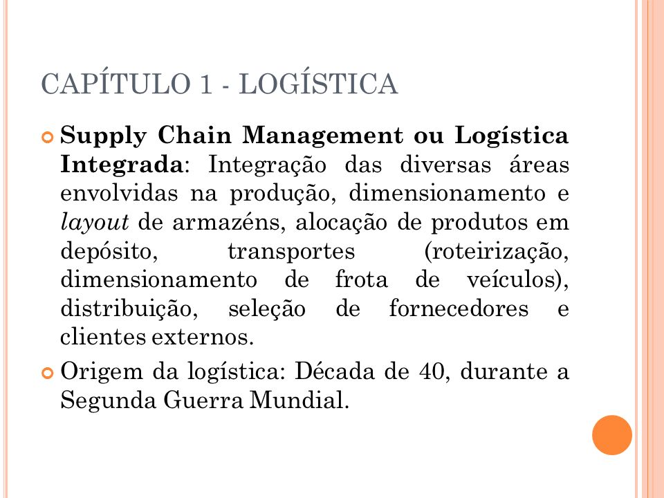 CAPÍTULO 1 - LOGÍSTICA