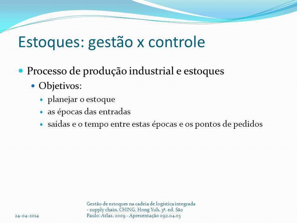 Estoques: gestão x controle