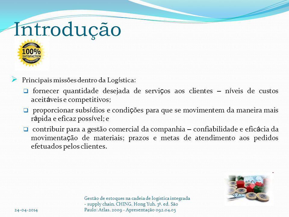 Introdução Principais missões dentro da Logística: