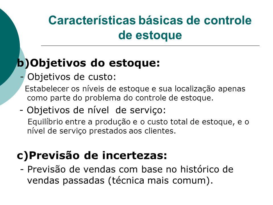 Características básicas de controle de estoque