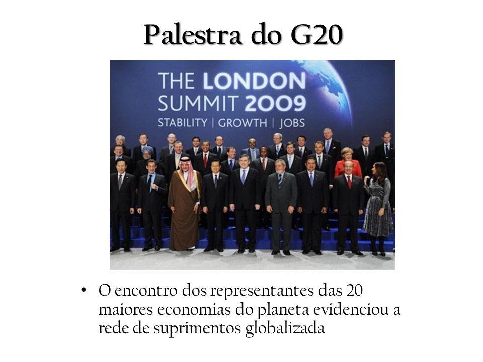 Palestra do G20 O encontro dos representantes das 20 maiores economias do planeta evidenciou a rede de suprimentos globalizada.