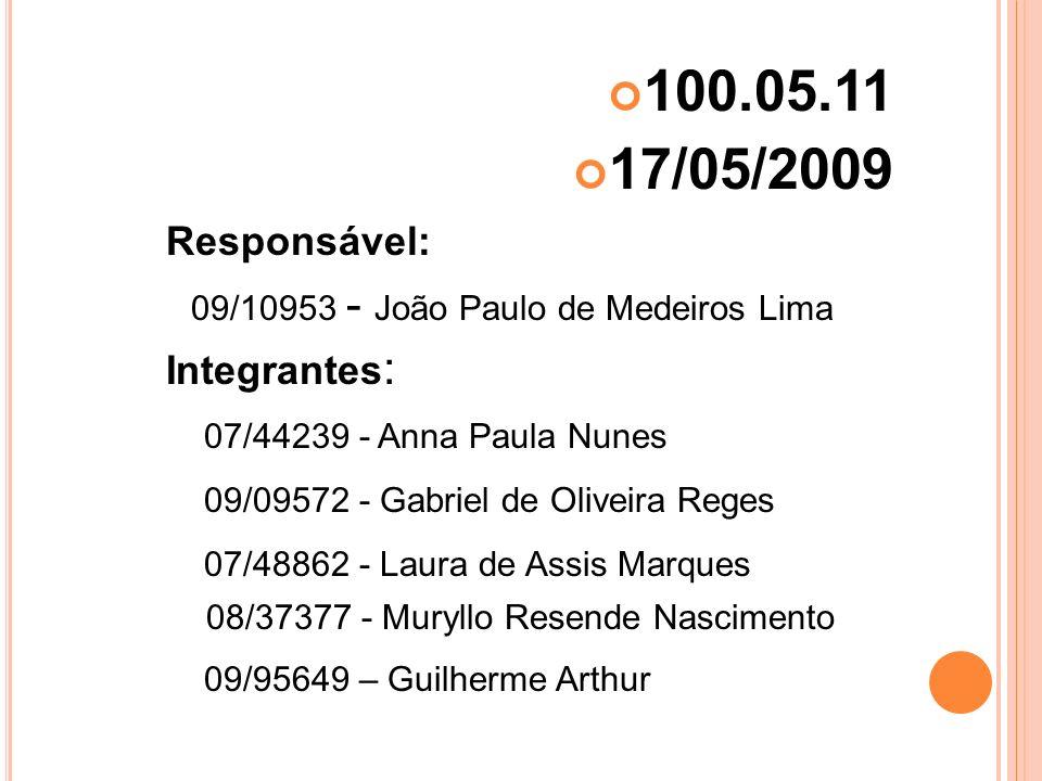100.05.11 17/05/2009. Responsável: 09/10953 - João Paulo de Medeiros Lima. Integrantes: 07/44239 - Anna Paula Nunes.