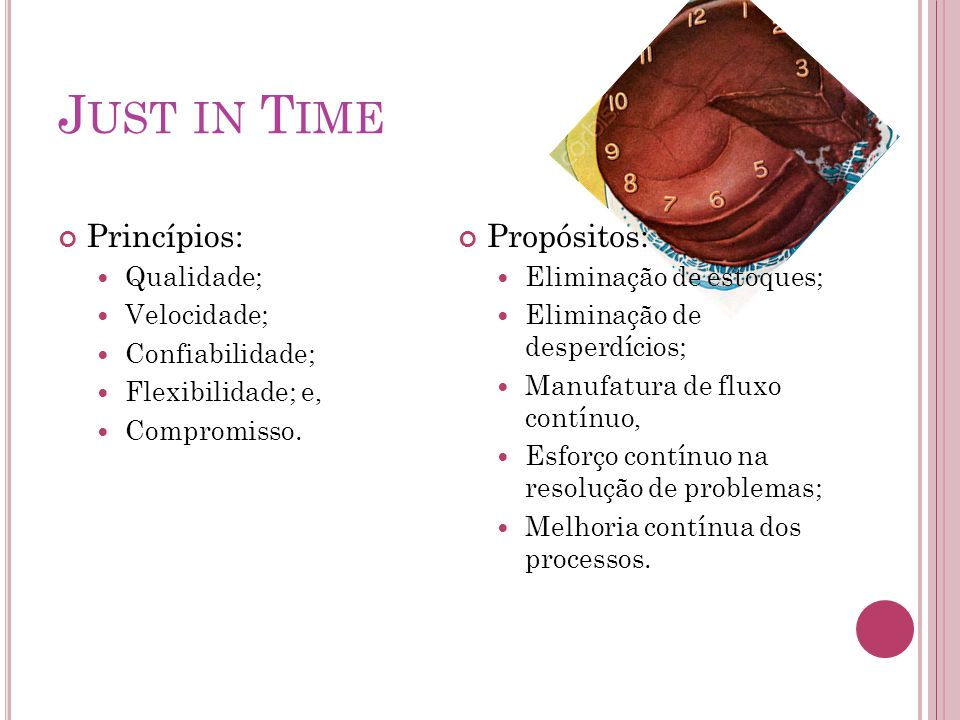 Just in Time Princípios: Propósitos: Qualidade; Velocidade;