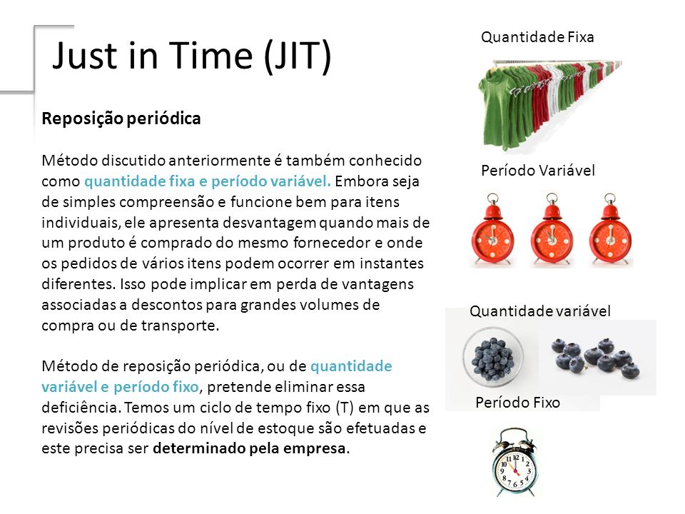 Just in Time (JIT) Reposição periódica Quantidade Fixa