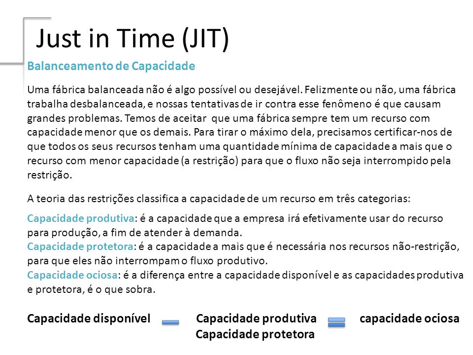 Just in Time (JIT) Balanceamento de Capacidade