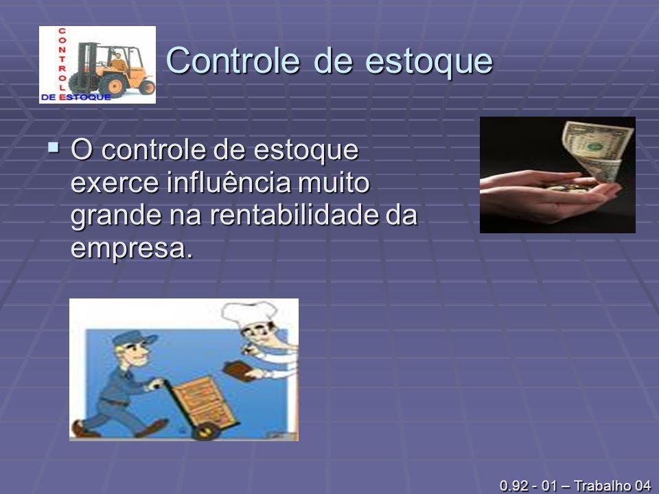 Controle de estoque O controle de estoque exerce influência muito grande na rentabilidade da empresa.