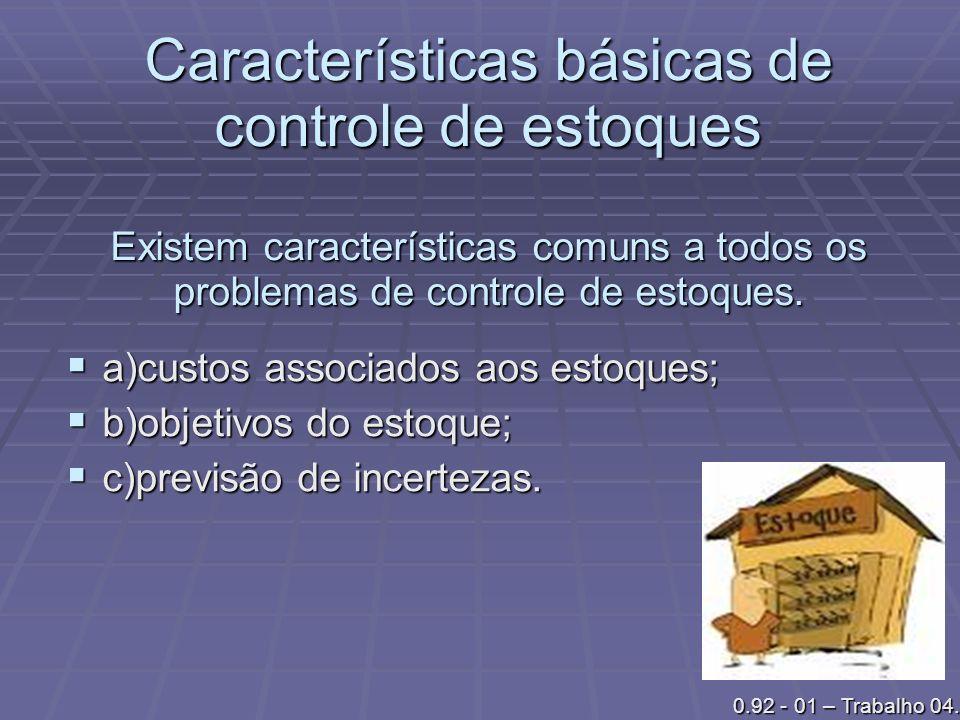 Características básicas de controle de estoques Existem características comuns a todos os problemas de controle de estoques.