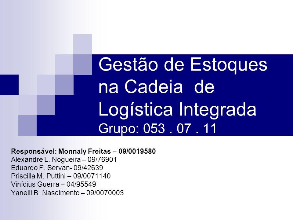 Gestão de Estoques na Cadeia de Logística Integrada Grupo: 053 . 07 . 11