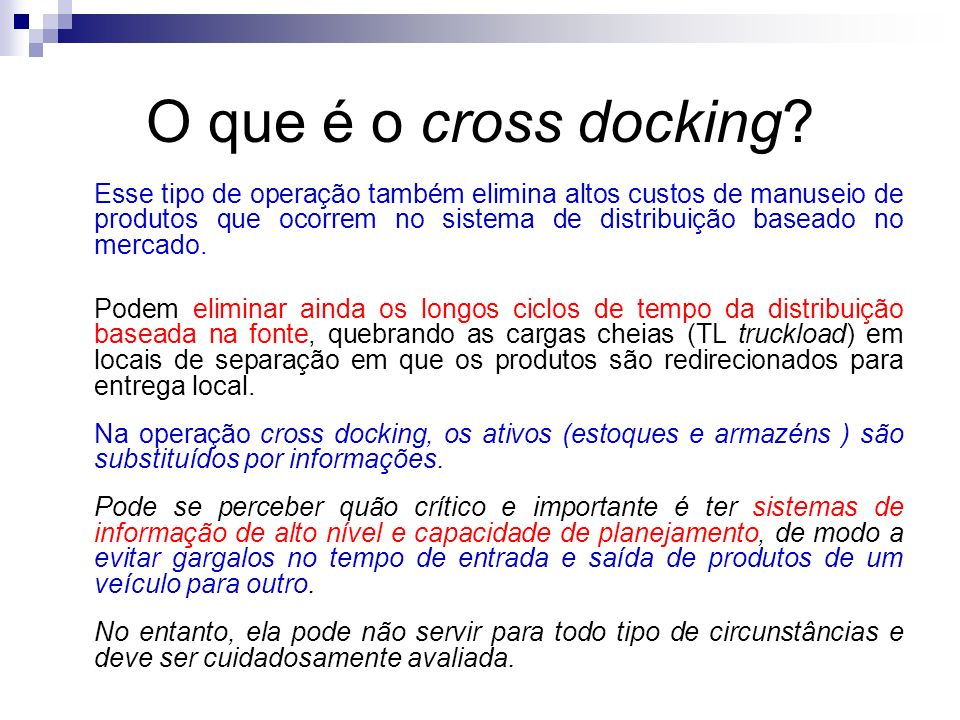 O que é o cross docking