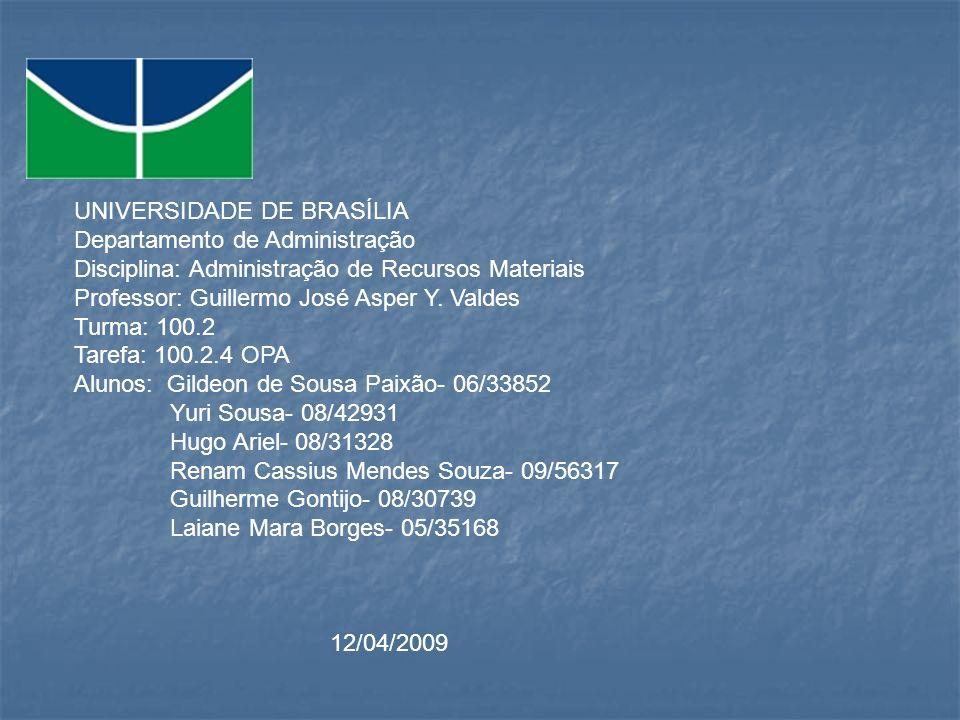 UNIVERSIDADE DE BRASÍLIA Departamento de Administração Disciplina: Administração de Recursos Materiais