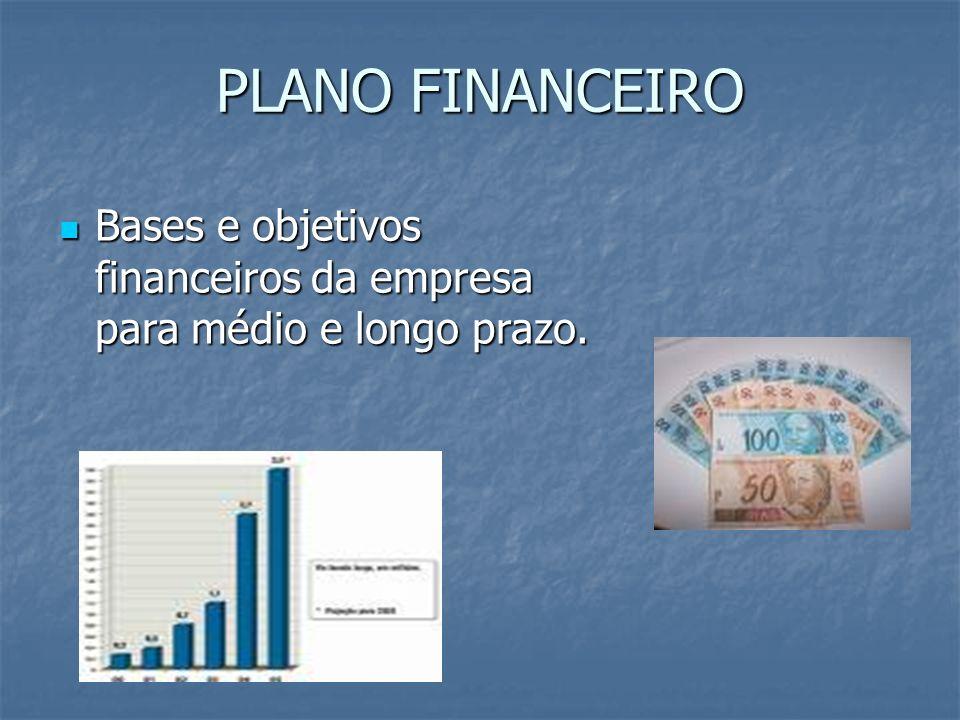 PLANO FINANCEIRO Bases e objetivos financeiros da empresa para médio e longo prazo.