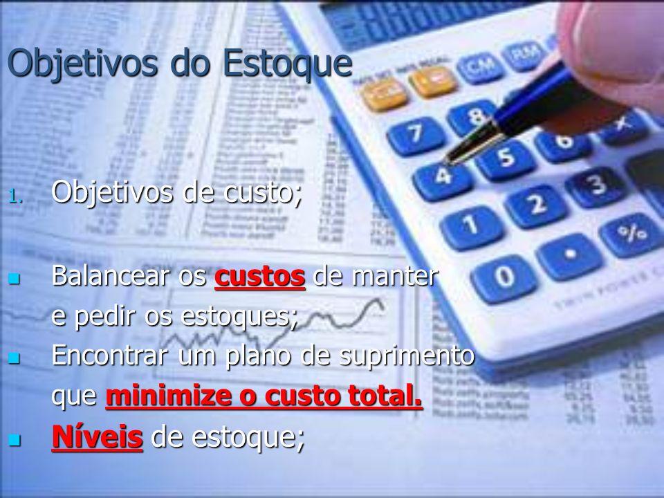 Objetivos do Estoque Objetivos de custo; Níveis de estoque;