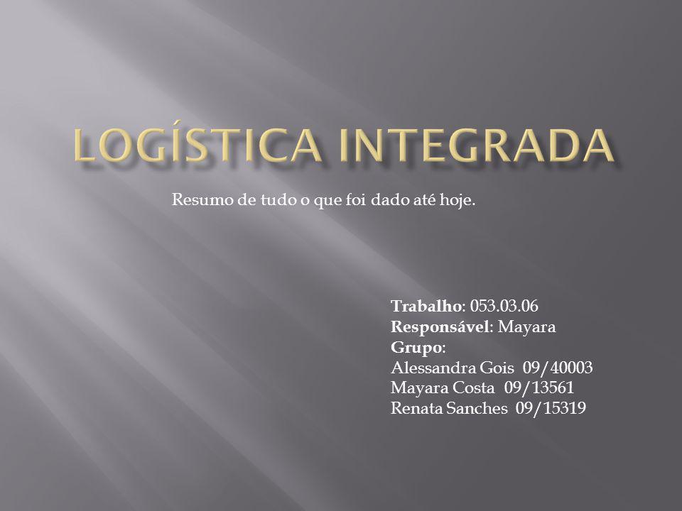Logística Integrada Resumo de tudo o que foi dado até hoje.