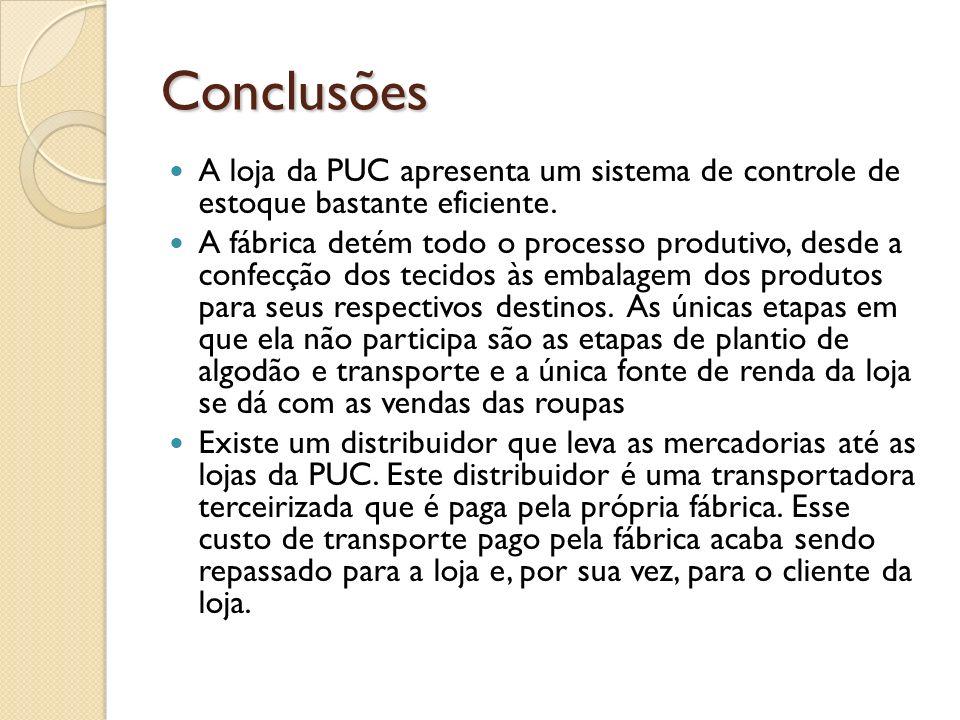 ConclusõesA loja da PUC apresenta um sistema de controle de estoque bastante eficiente.