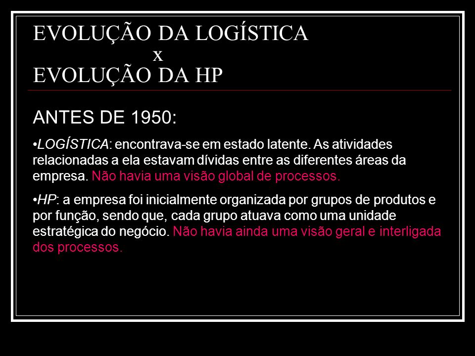 EVOLUÇÃO DA LOGÍSTICA x EVOLUÇÃO DA HP
