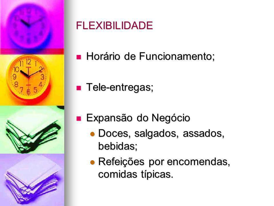 FLEXIBILIDADEHorário de Funcionamento; Tele-entregas; Expansão do Negócio. Doces, salgados, assados, bebidas;