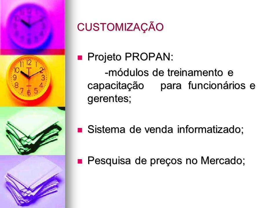 CUSTOMIZAÇÃOProjeto PROPAN: -módulos de treinamento e capacitação para funcionários e gerentes; Sistema de venda informatizado;