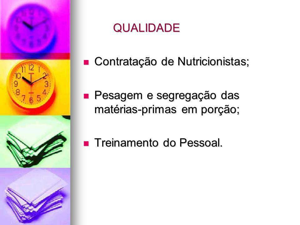 QUALIDADE Contratação de Nutricionistas; Pesagem e segregação das matérias-primas em porção; Treinamento do Pessoal.