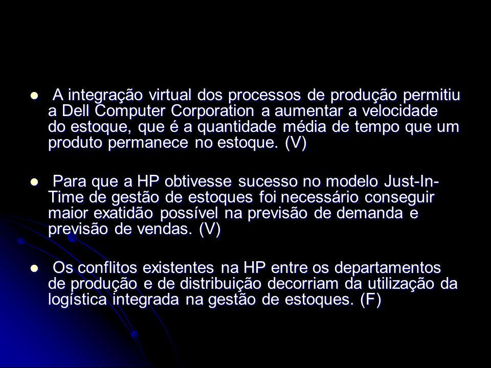 A integração virtual dos processos de produção permitiu a Dell Computer Corporation a aumentar a velocidade do estoque, que é a quantidade média de tempo que um produto permanece no estoque. (V)