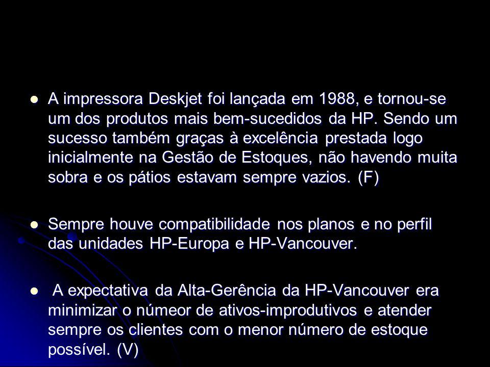 A impressora Deskjet foi lançada em 1988, e tornou-se um dos produtos mais bem-sucedidos da HP. Sendo um sucesso também graças à excelência prestada logo inicialmente na Gestão de Estoques, não havendo muita sobra e os pátios estavam sempre vazios. (F)