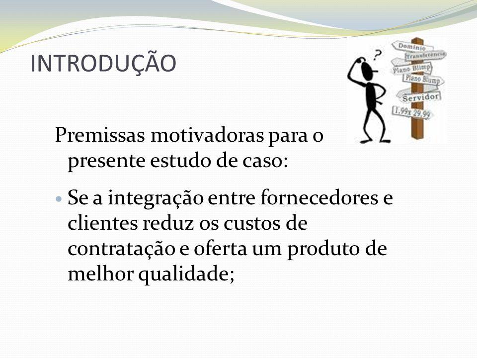 INTRODUÇÃO Premissas motivadoras para o presente estudo de caso: