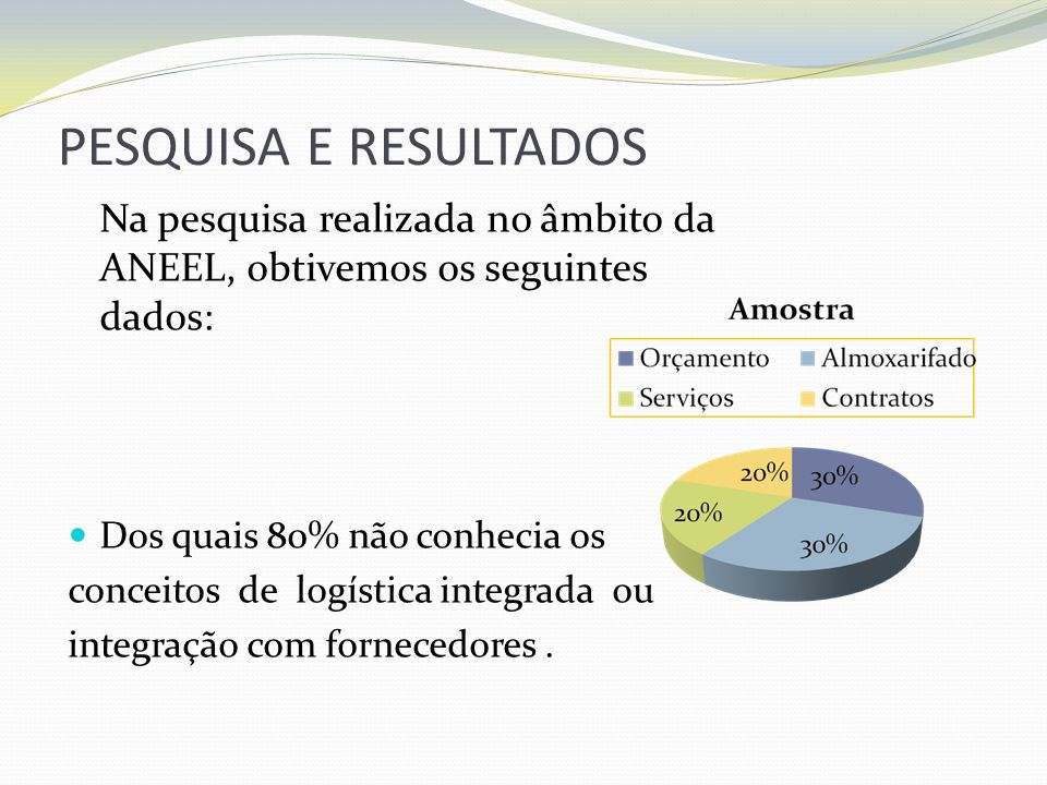 PESQUISA E RESULTADOSNa pesquisa realizada no âmbito da ANEEL, obtivemos os seguintes dados:
