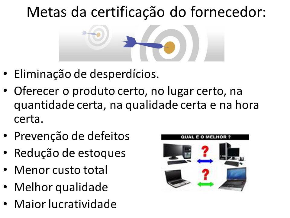 Metas da certificação do fornecedor: