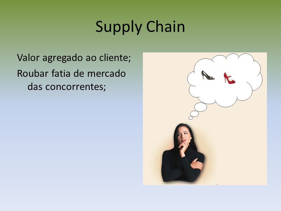 Supply Chain Valor agregado ao cliente; Roubar fatia de mercado das concorrentes;