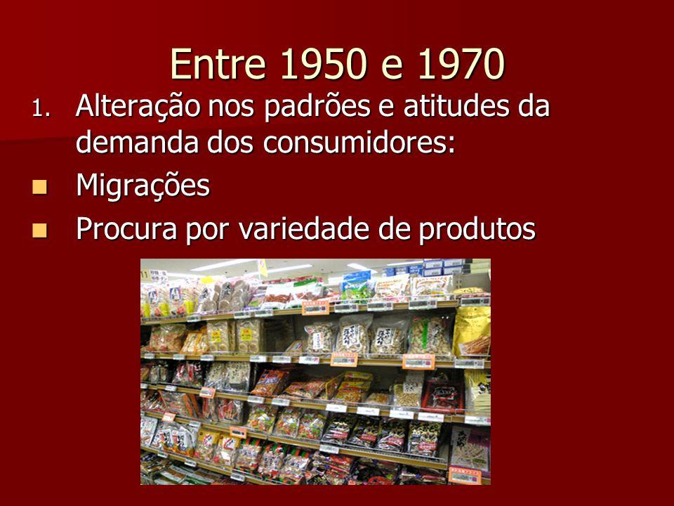Entre 1950 e 1970 Alteração nos padrões e atitudes da demanda dos consumidores: Migrações.