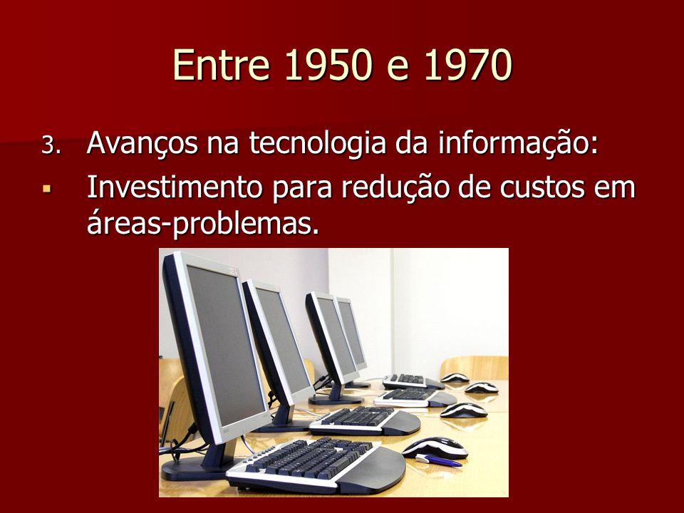Entre 1950 e 1970 Avanços na tecnologia da informação: