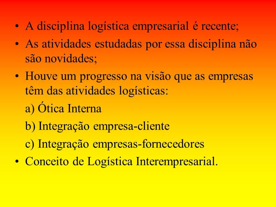 A disciplina logística empresarial é recente;