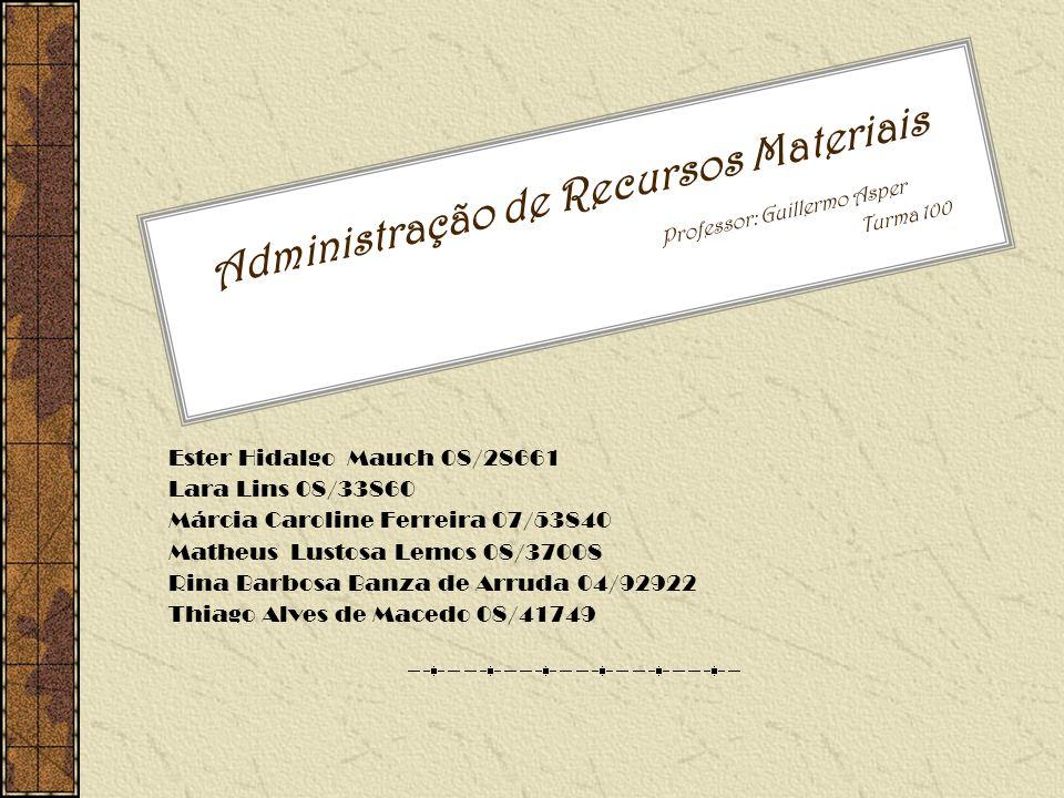 Administração de Recursos Materiais Professor: Guillermo Asper Turma 100