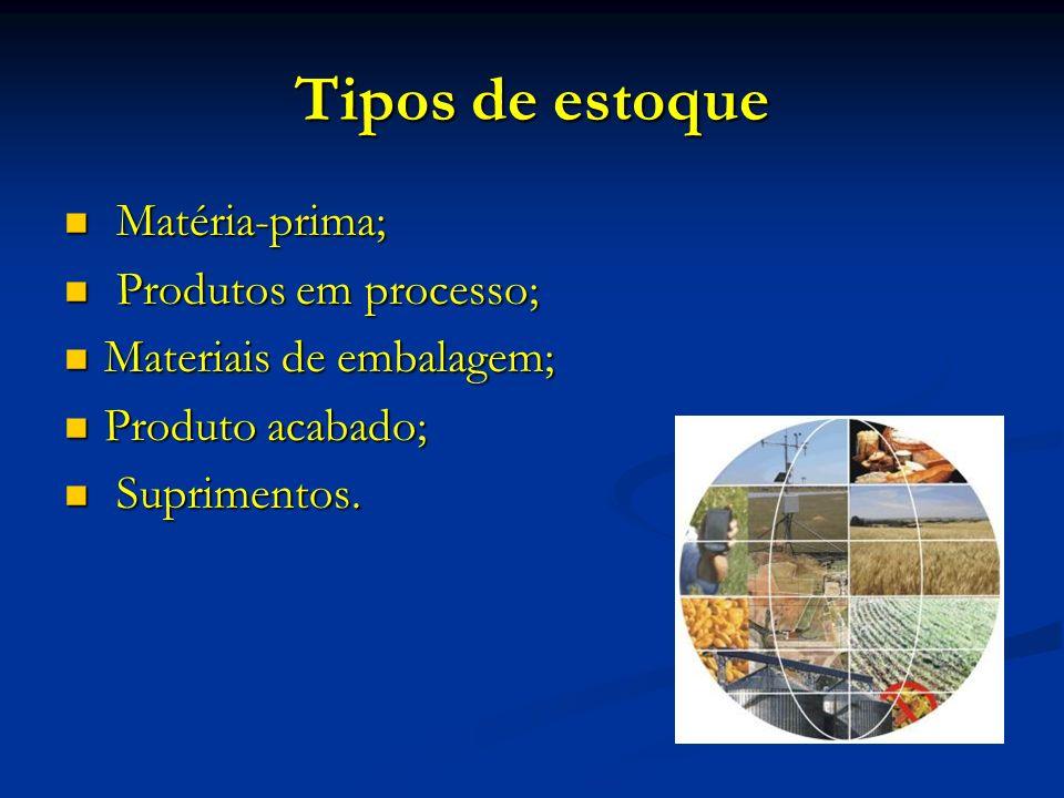 Tipos de estoque Matéria-prima; Produtos em processo;