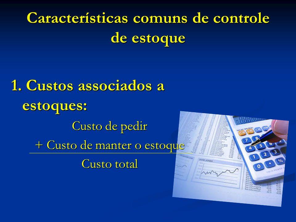 Características comuns de controle de estoque