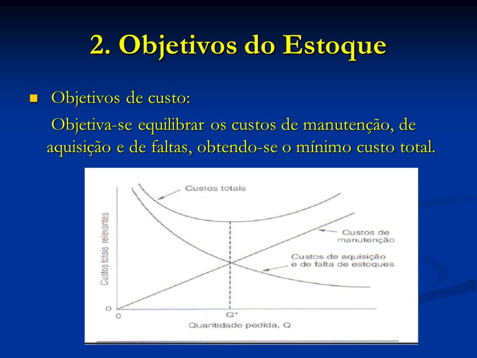 2. Objetivos do Estoque Objetivos de custo: