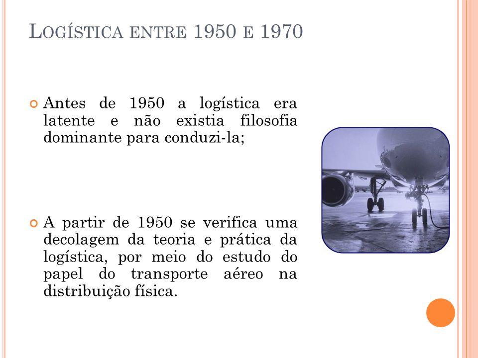 Logística entre 1950 e 1970 Antes de 1950 a logística era latente e não existia filosofia dominante para conduzi-la;