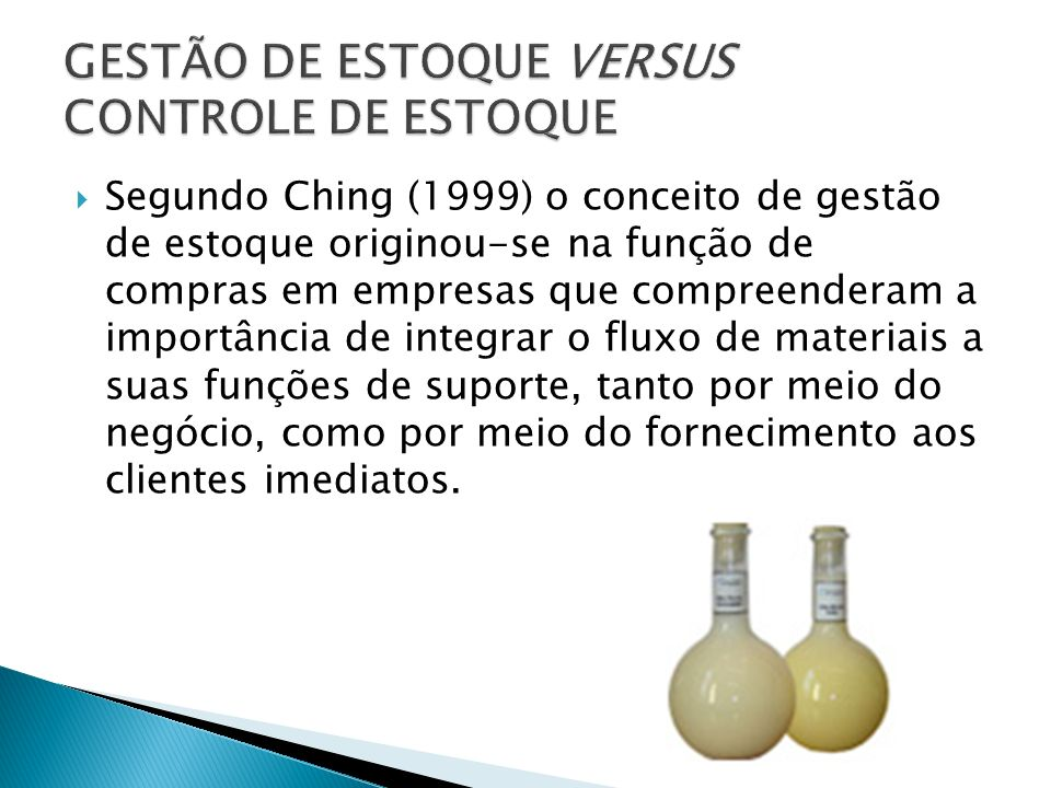 GESTÃO DE ESTOQUE VERSUS CONTROLE DE ESTOQUE