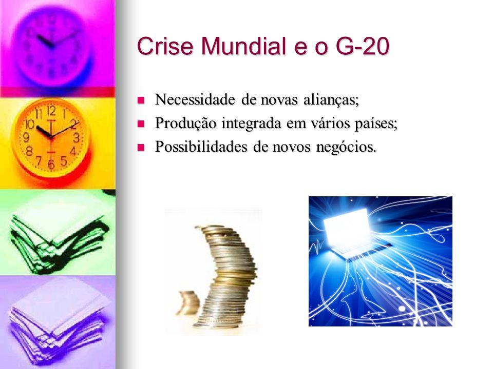 Crise Mundial e o G-20 Necessidade de novas alianças;
