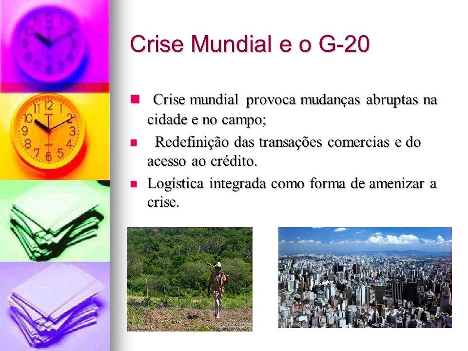 Crise Mundial e o G-20 Crise mundial provoca mudanças abruptas na cidade e no campo; Redefinição das transações comercias e do acesso ao crédito.