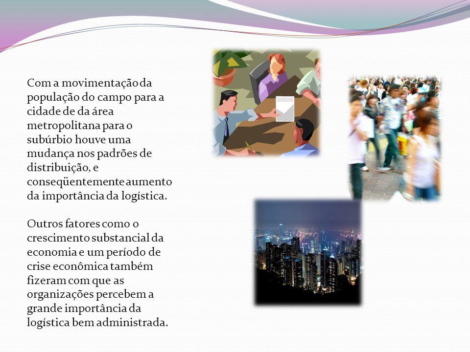 Com a movimentação da população do campo para a cidade de da área metropolitana para o subúrbio houve uma mudança nos padrões de distribuição, e conseqüentemente aumento da importância da logística.