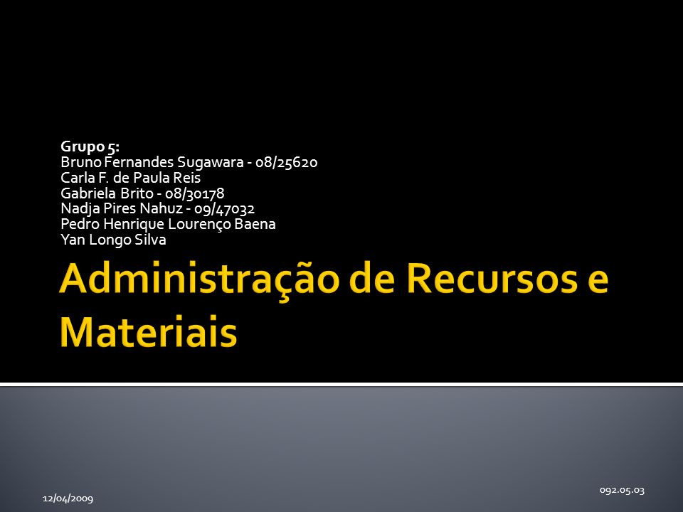 Estoques Administração de Recursos e Materiais – 092.05.03 12/04/2009