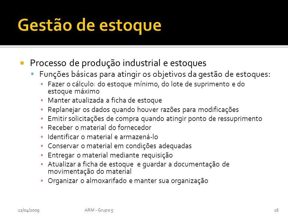 Gestão de estoque Processo de produção industrial e estoques
