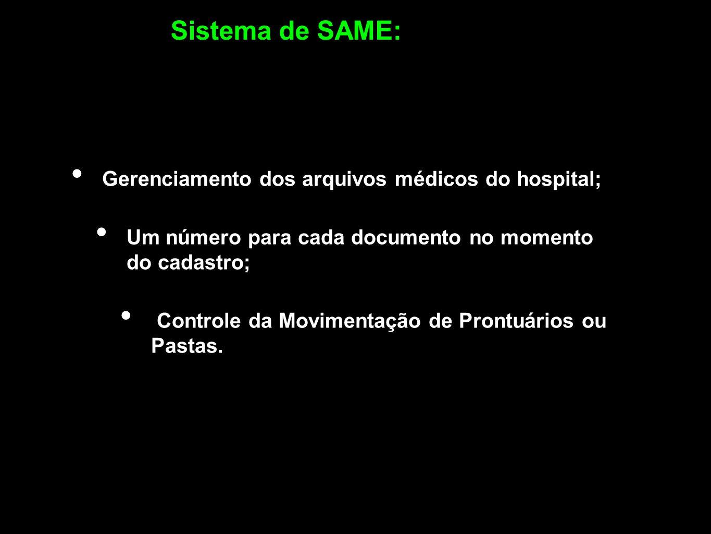 Sistema de SAME: Gerenciamento dos arquivos médicos do hospital;