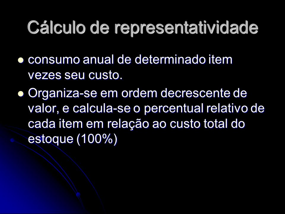 Cálculo de representatividade